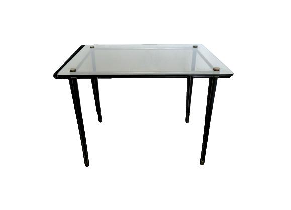 Table Basse D Appoint En Metal Noir Et Verre Fume Des Annees 60 Table Basse D Appoint Verre Fume Et Table Basse