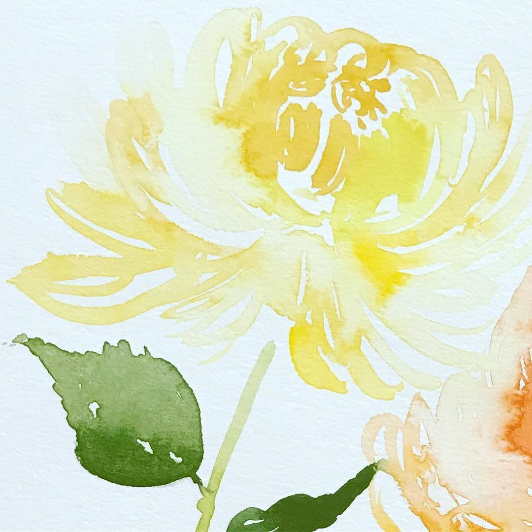Custom Wedding Invitation Design Watercolor Illustration Yellow Chrysanthemum Watercolor Illustration Fabric Painting Illustration