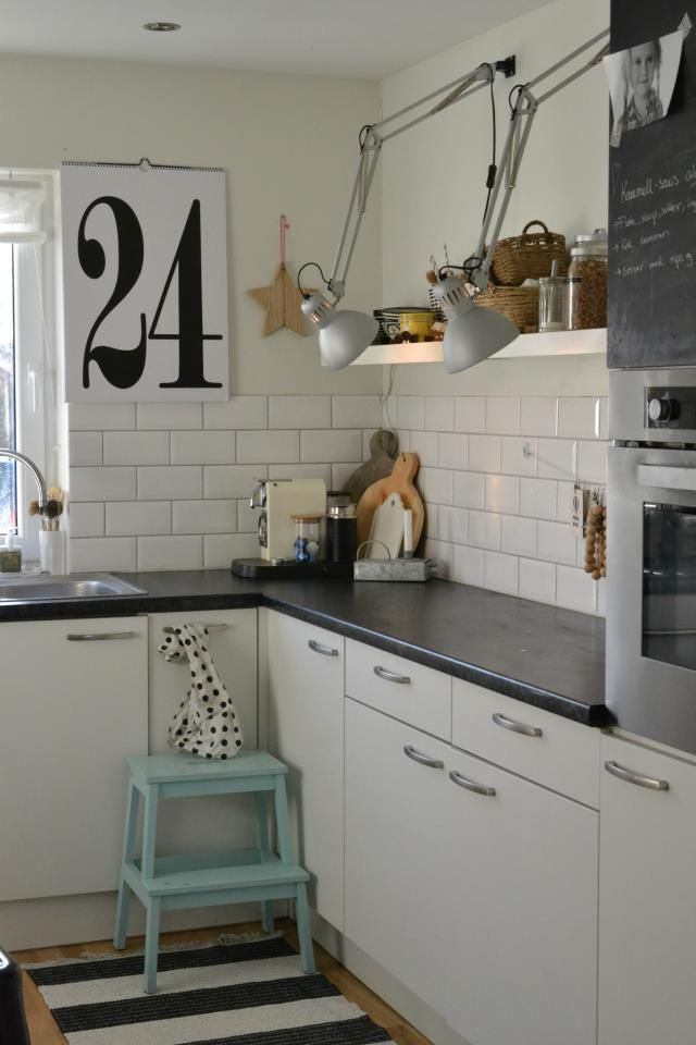 white with black counter, tiles and tall open shelf | ikea bekvam ...