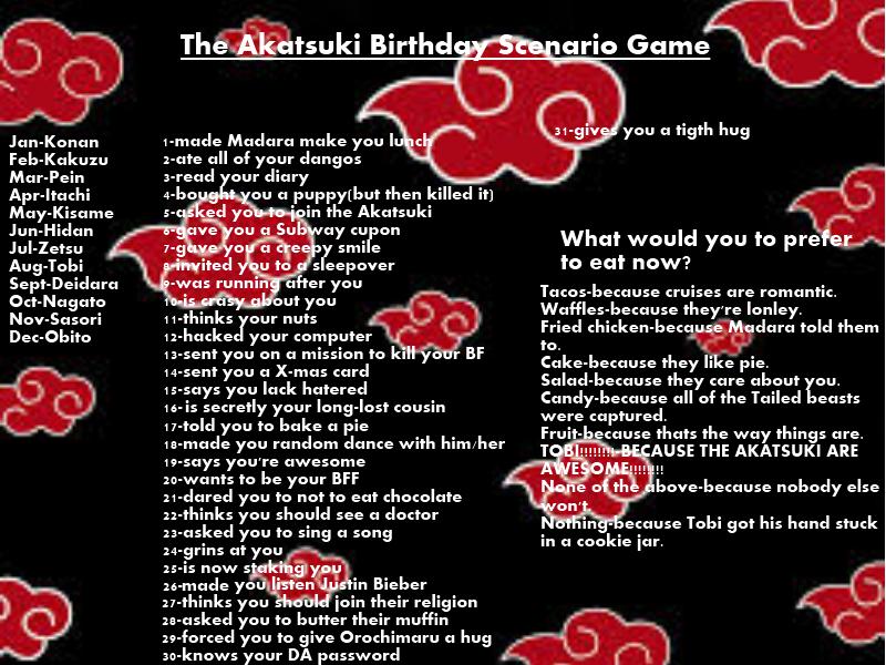 Another random birthday scenario game (Akatsuki) by TheBlueEyedVampire on  deviantART