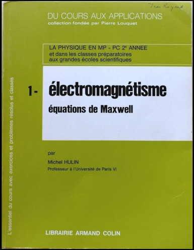 Telecharger Du Cours Aux Applications Tome 1 Electromagnetisme Equations De Maxwell Armand Colin Gratuitement Equations Maxwell