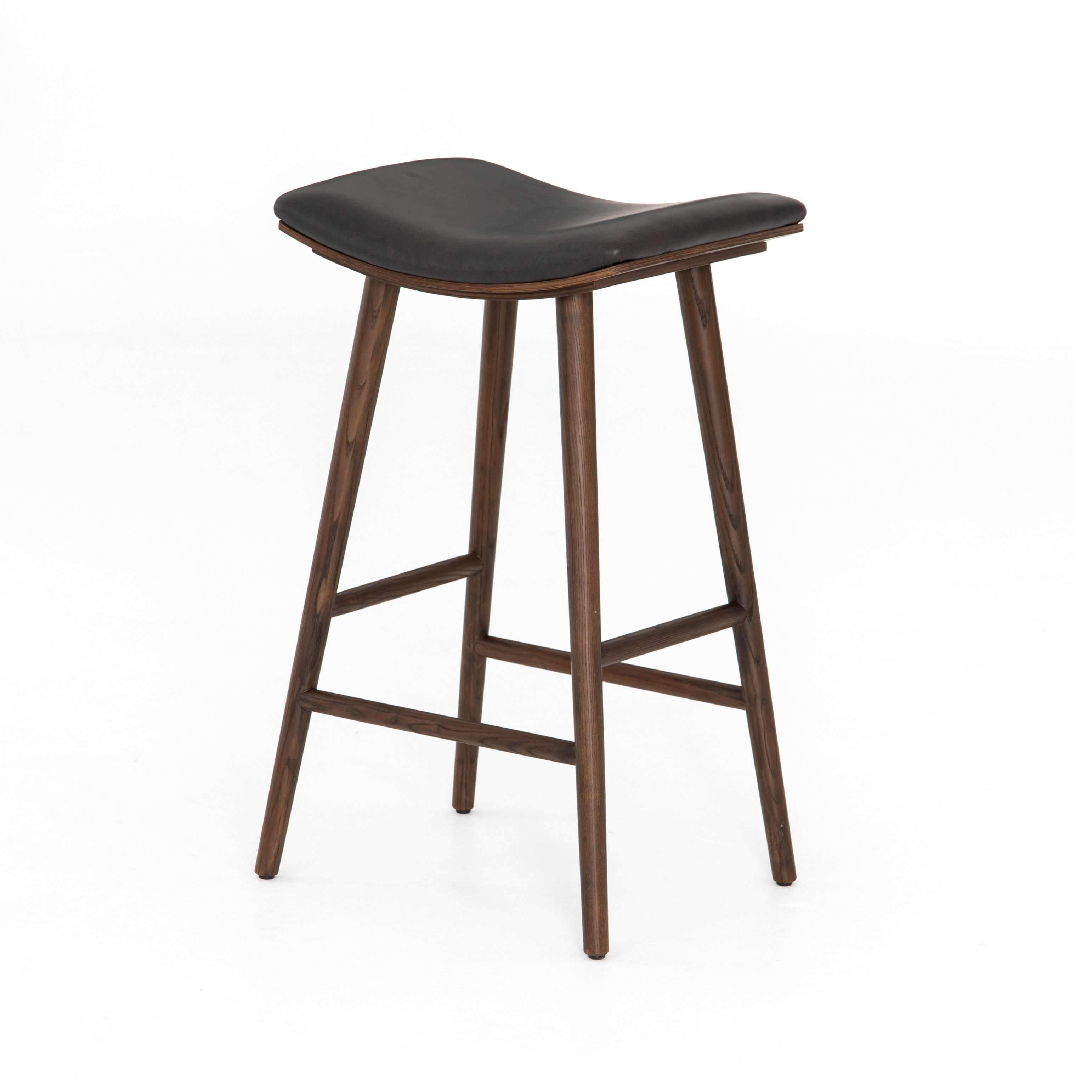 Union Saddle Bar Stool Distressed Black With Images Saddle Bar Stools Counter Stools Bar Stools