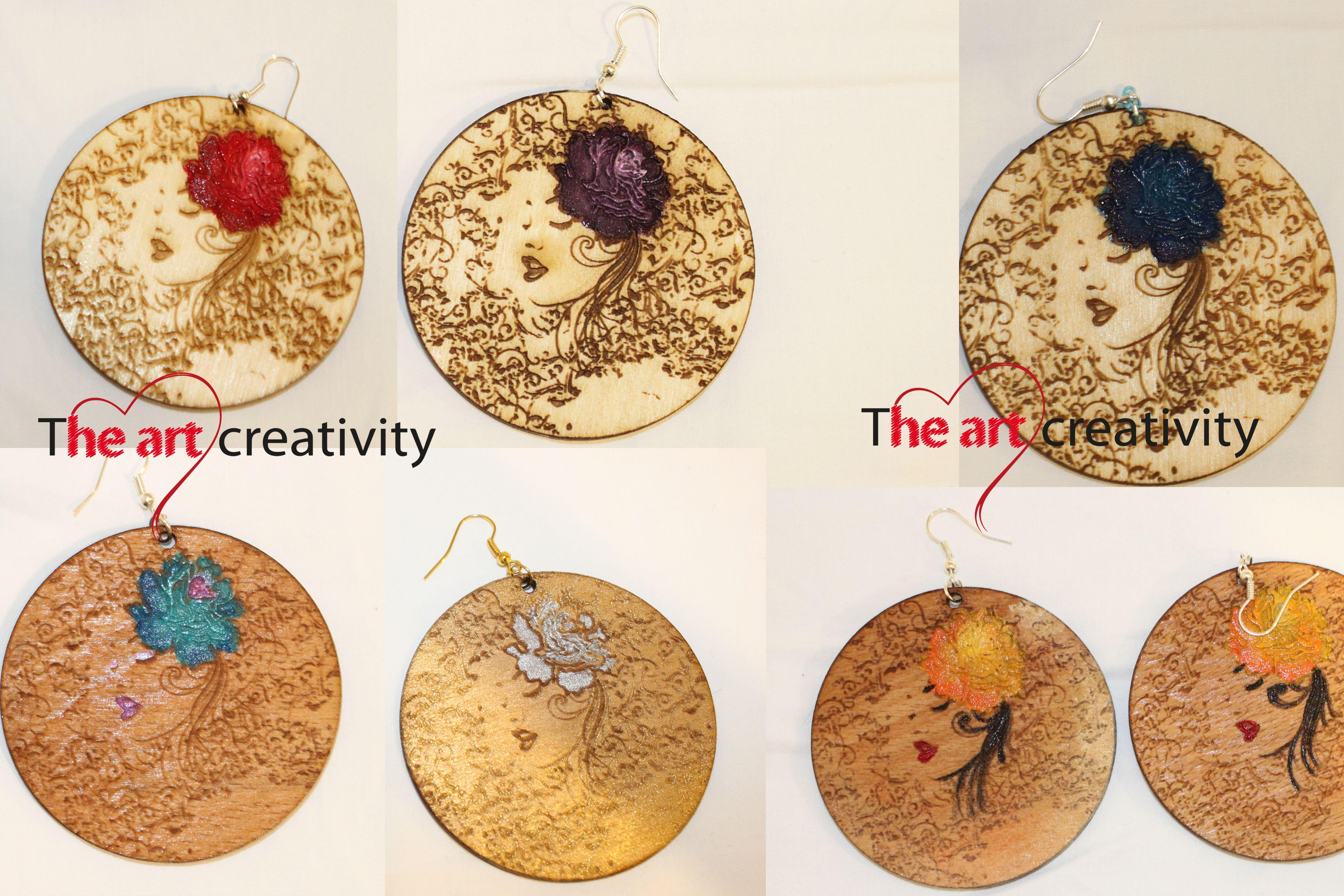 Orecchini in legno con incisione e dipinti a mano.  #wood #color #orecchini #legno #incisione   www.theartcreativity.com