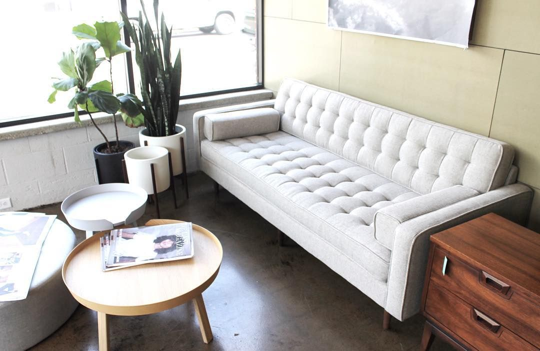 Lovely new Spencer Sofa with Wood legs, in Leaside Driftwood. From GUS. At Forage Modern Workshop