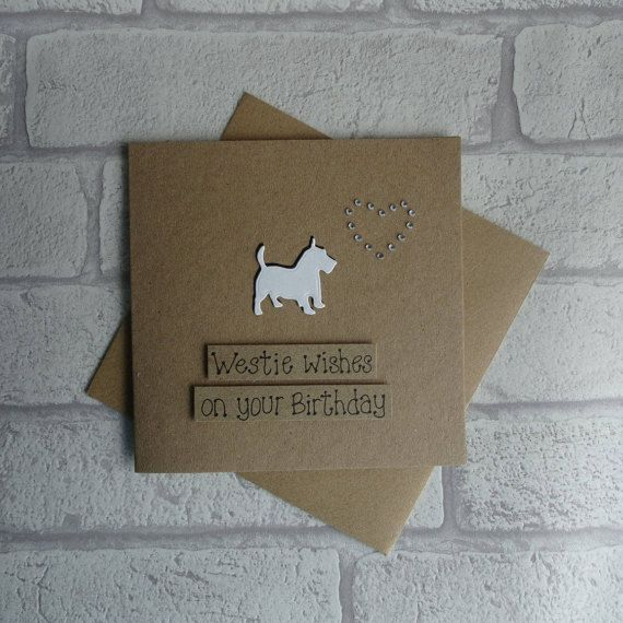 Scotty Dog Birthday Card West Highland Terrier Card Handmade Dog