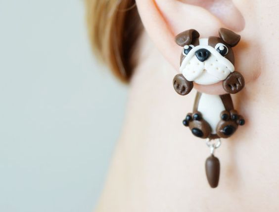 Dog earrings,brown english bulldog,animal ear jackets stud earrings,puppy clinging earring,double sided post,pet front back cuff,two part: