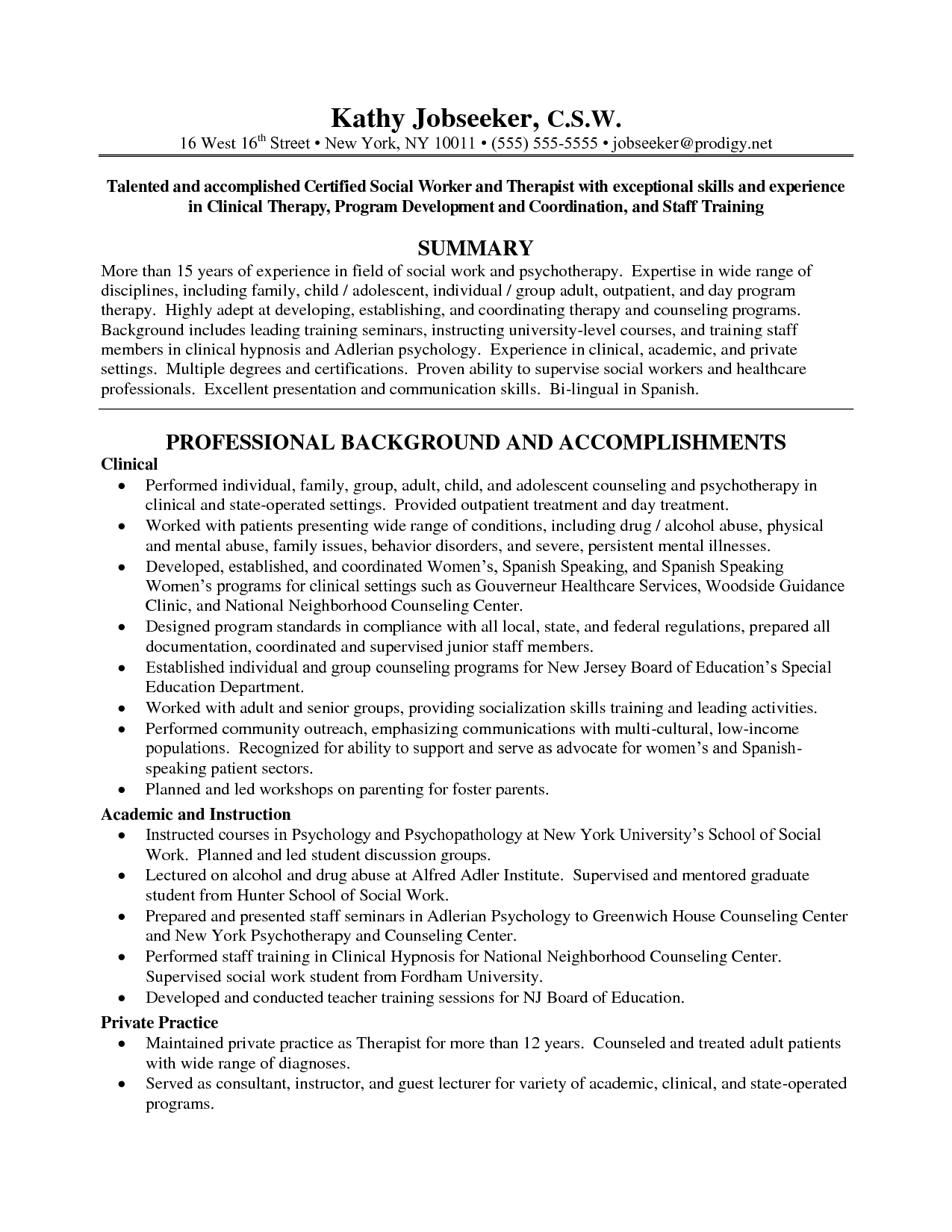 social work resume examples - Examples Of Work Resumes