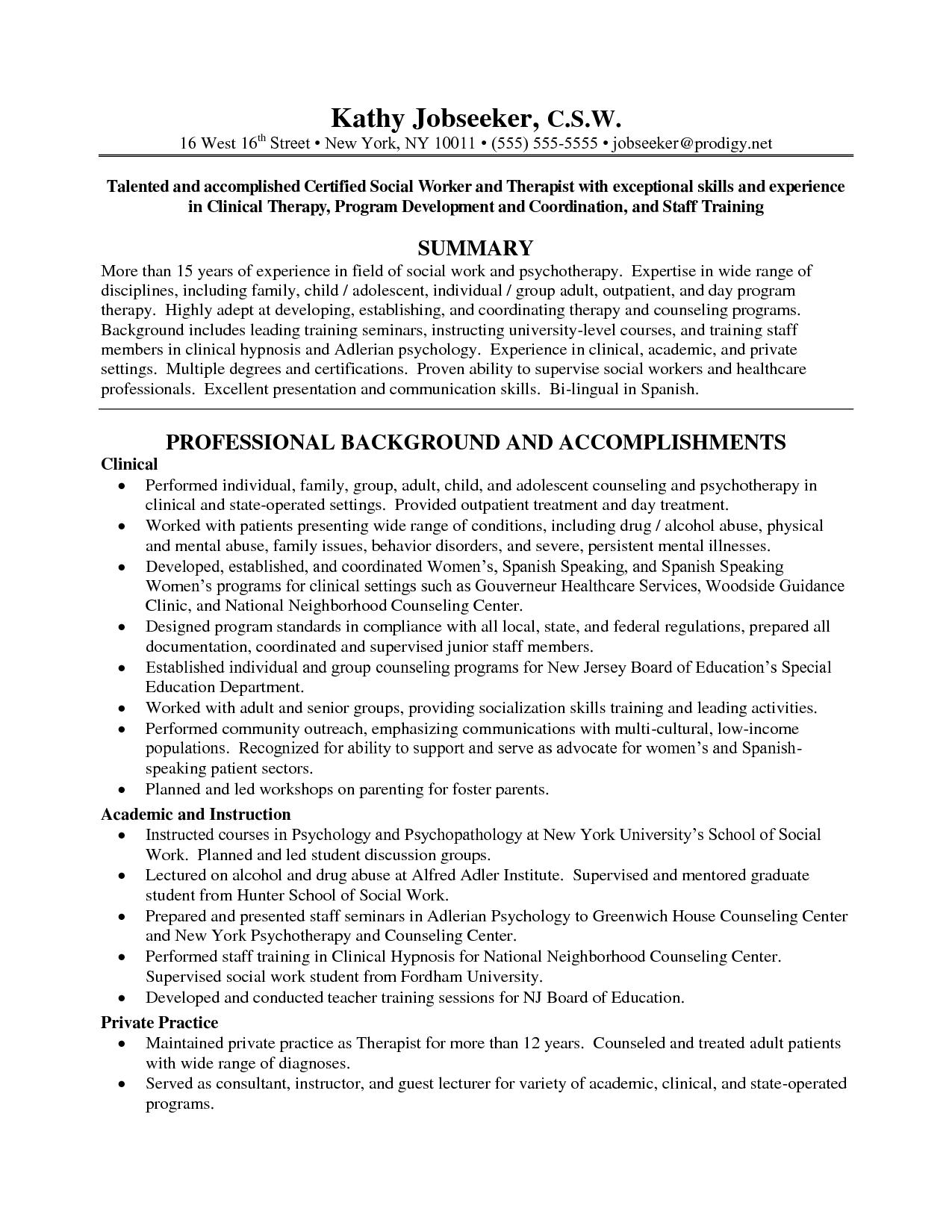 Examples Of Social Work Resumes - Resume Sample