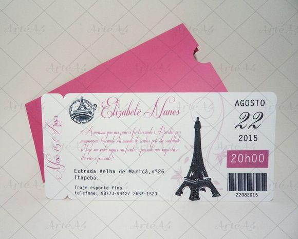 c9a91adf3 Convite 15 anos Ticket Passagem Paris