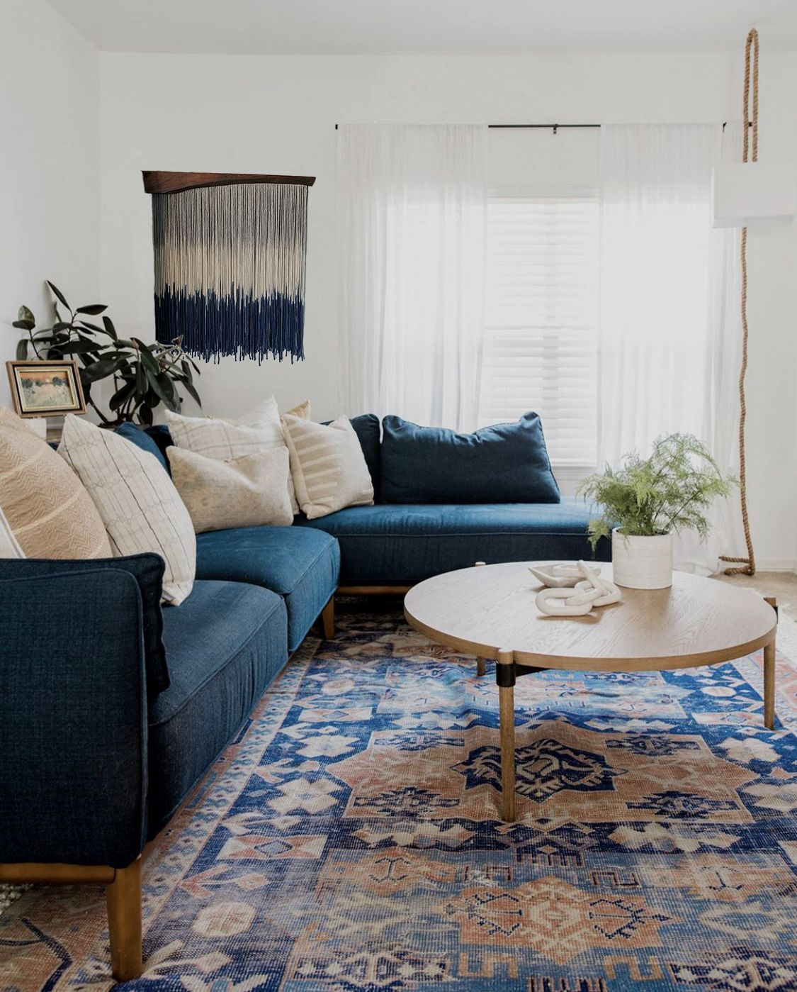 Ocean Modern Macrame Yarn Wall Hanging Fiber Art Bold Art Blue Sofas Living Room Blue Couch Living Grey Couch Living Room