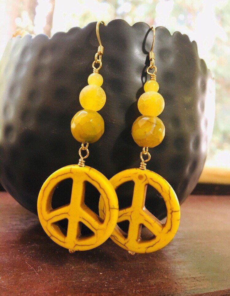 Yellow Peace Sign Earrings Yellow Peace Sign Jewelry Long Dangle Earrings Handmade Peace Sign Jewelry Long Dangle Earrings Earrings Handmade