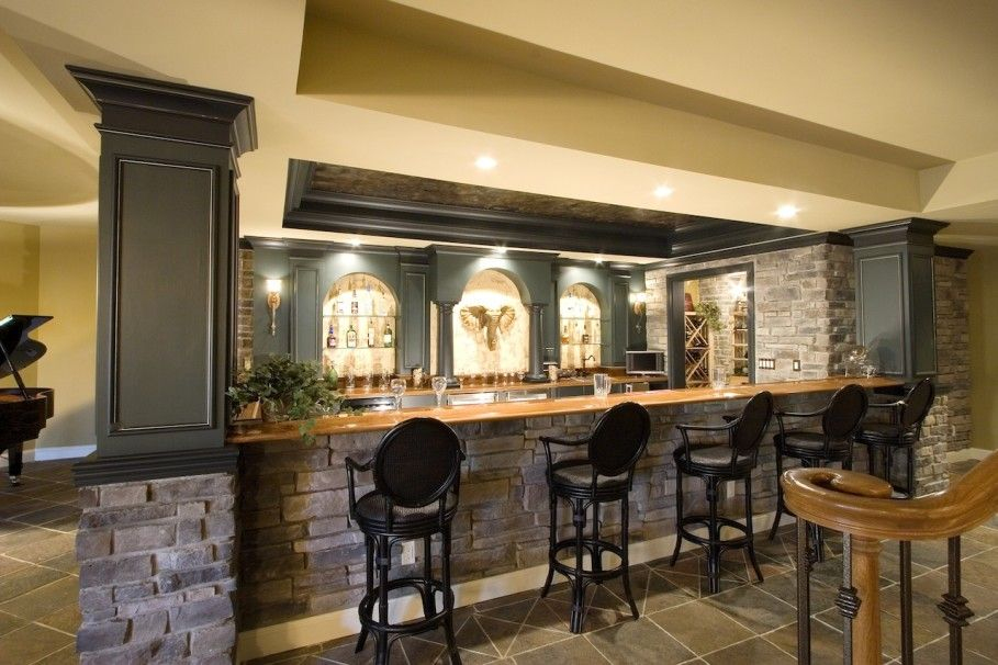 Yellow Interior Design Of Home Basement Bar Ideas With Stoned Mini Bar  Themed Feat Five Barstool