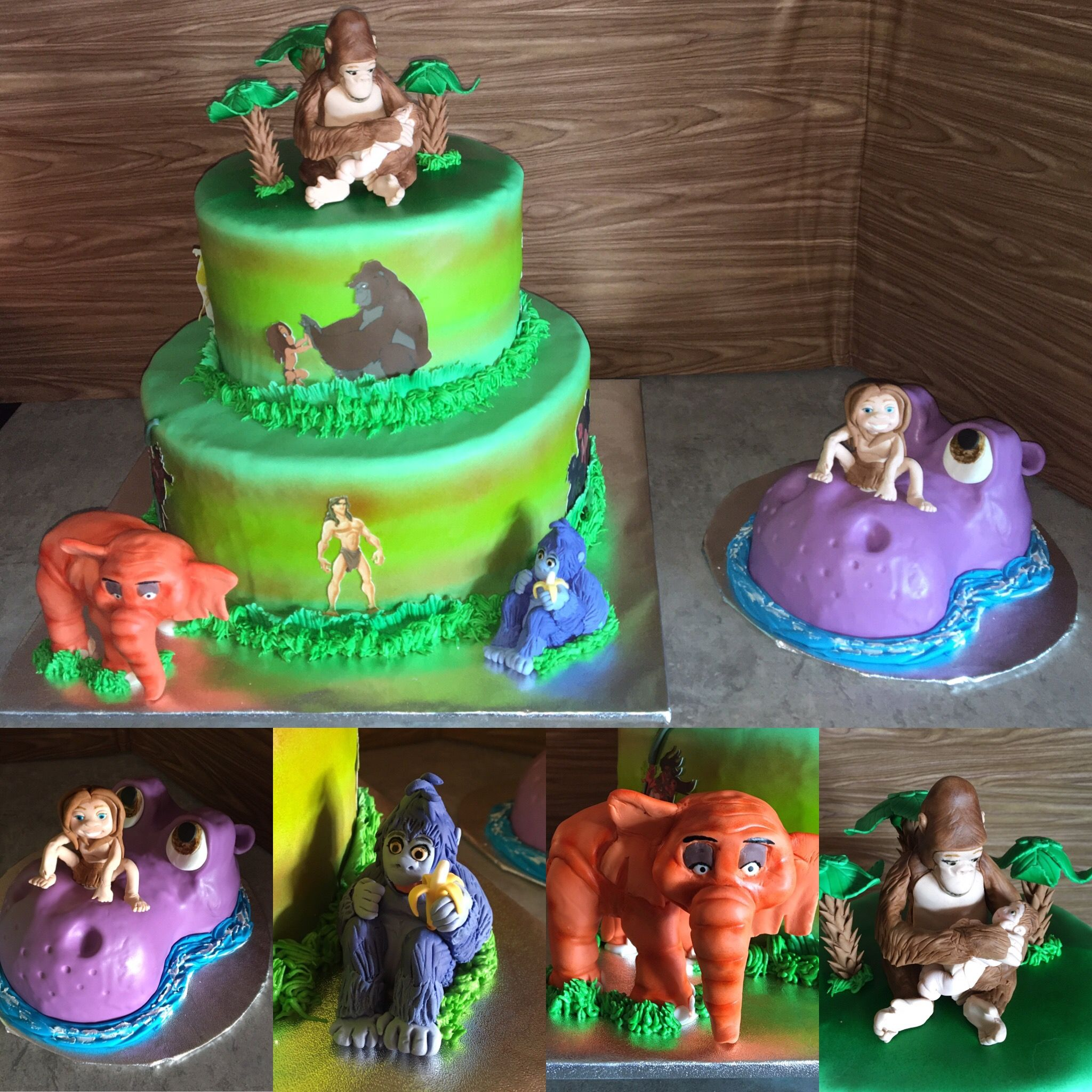Disney Tarzan cake with smasher cake. All figures are made of ...