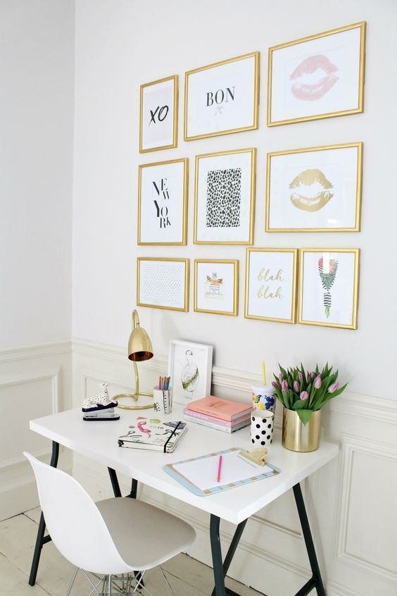 wall decorations office worthy. To: Make Your Home Insta-Worthy. Get Instagram Ready With Our Top Tips And Ideas. We Love This Gold Frame Print Gallery Wall In A Office Decorations Worthy