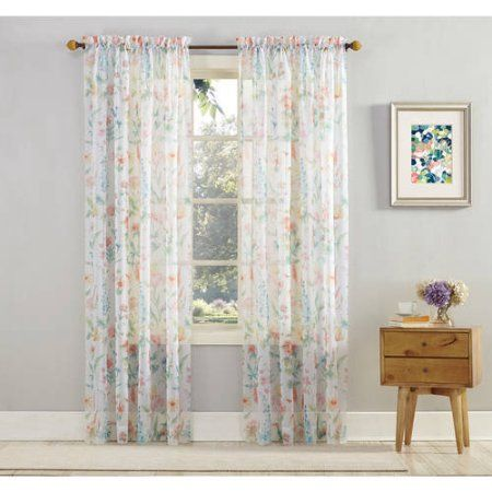 Mainstays Marjorie Sheer Voile Curtain Panel, Multicolor