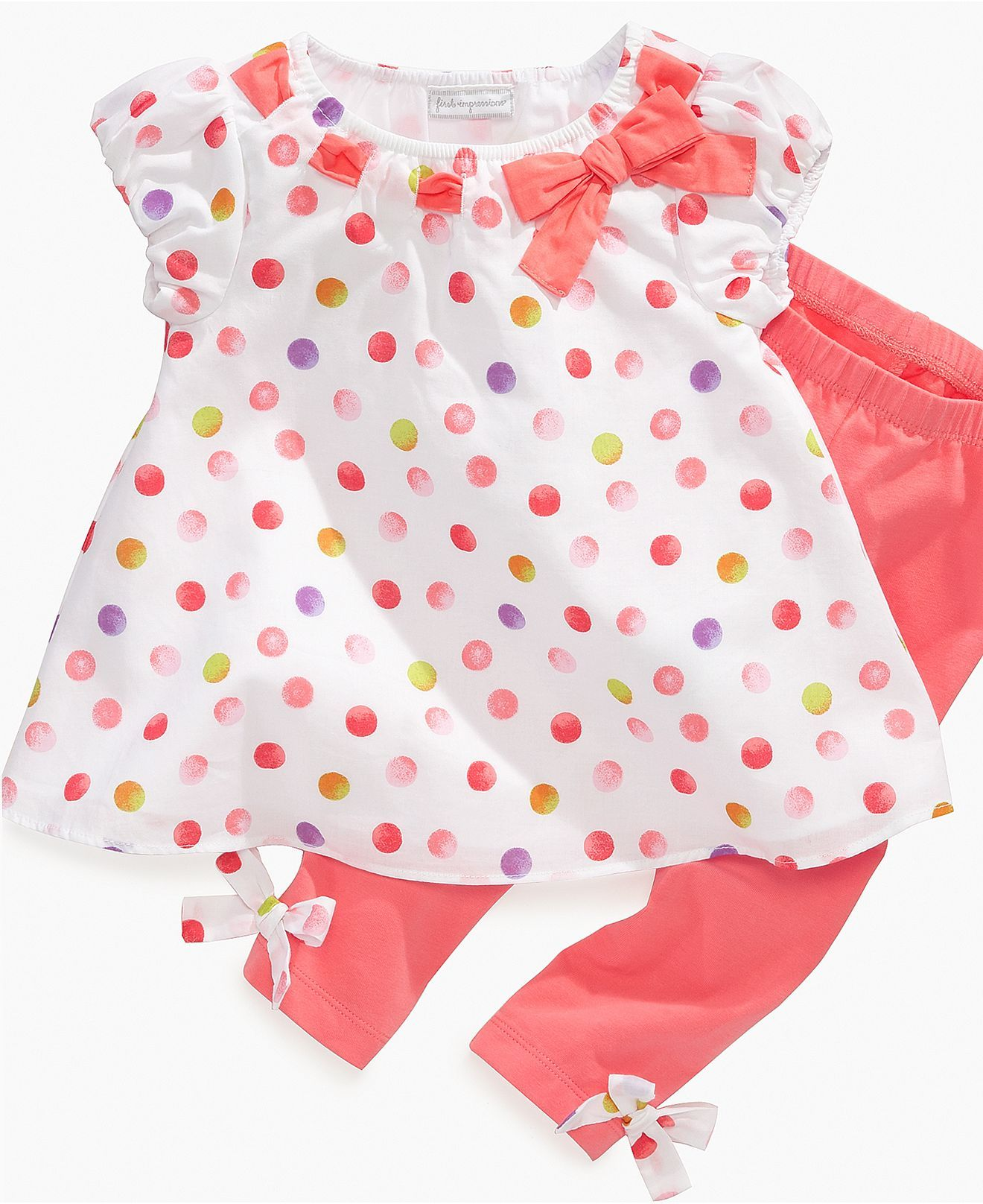 3a52c38f2 First Impressions Baby Set, Baby Girls Multi-Dot Tunic and Leggings ...