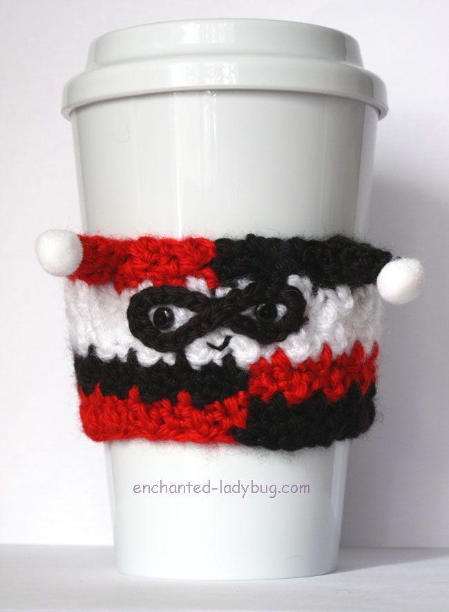 Free Crochet Harley Quinn Coffee Cup Cozy pattern. Free PDF crochet ...