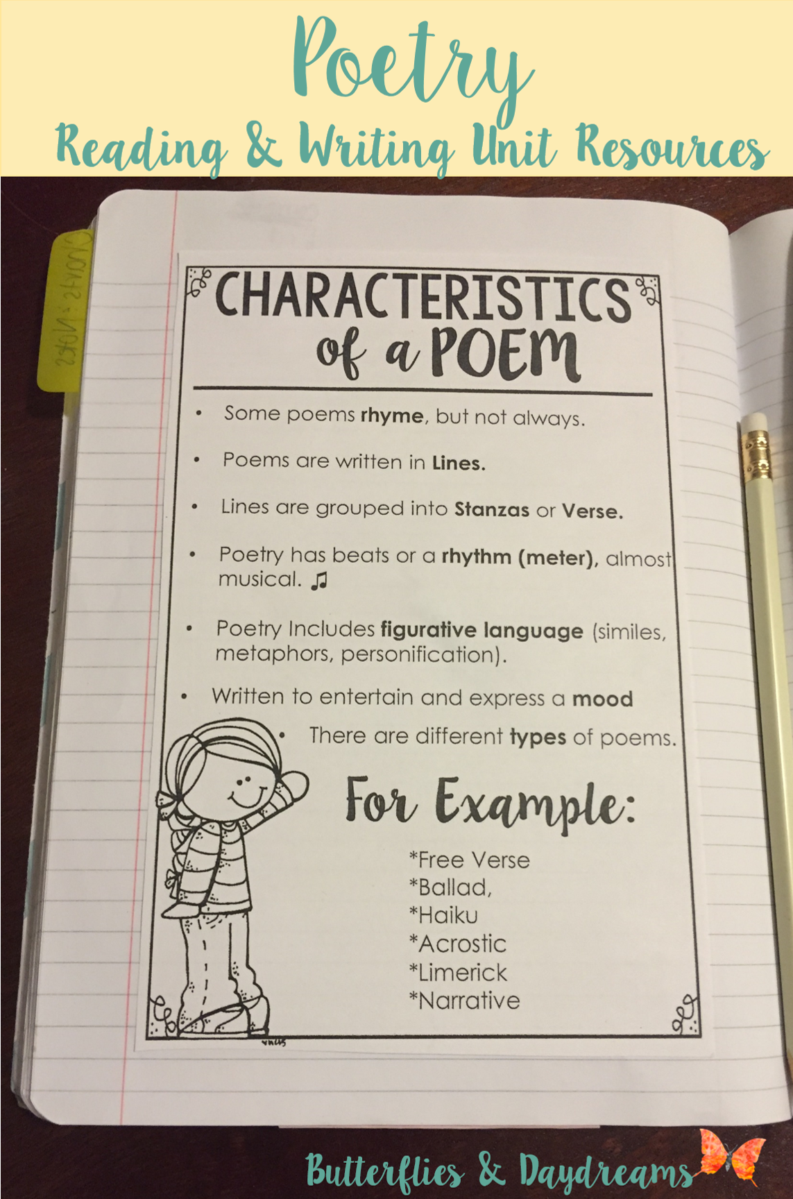 Characteristics Of A Poem Writing Notebook Anchor Chart, Reading And  Writing The Language Of Poetry