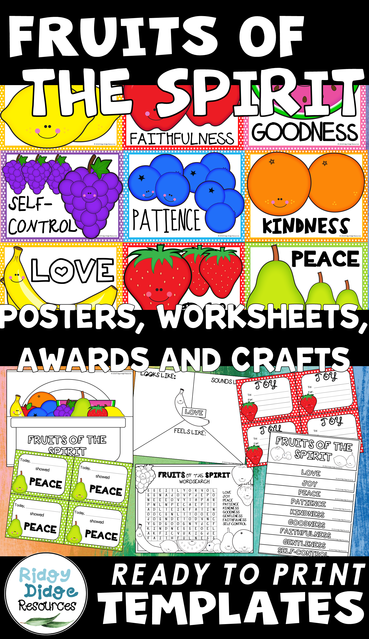 Fruits Of The Spirit Posters Worksheets Amp Activities