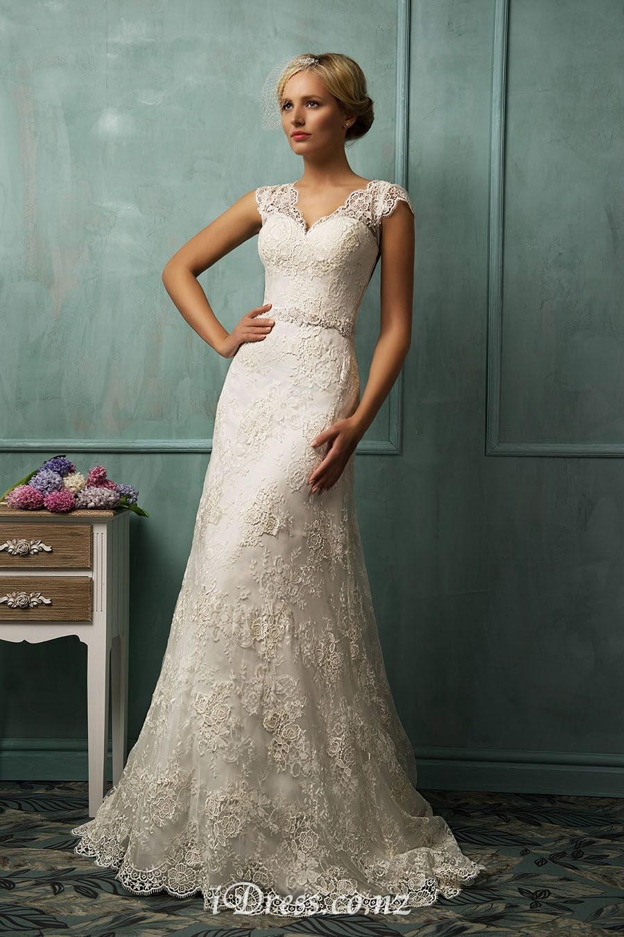 Lace cap sleeve v neck illusion back a line wedding dress for Wedding dress with illusion sleeves