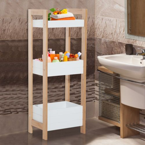 Details zu Badregal Korbregal Standregal Badezimmer Regal Bambus 3 ...