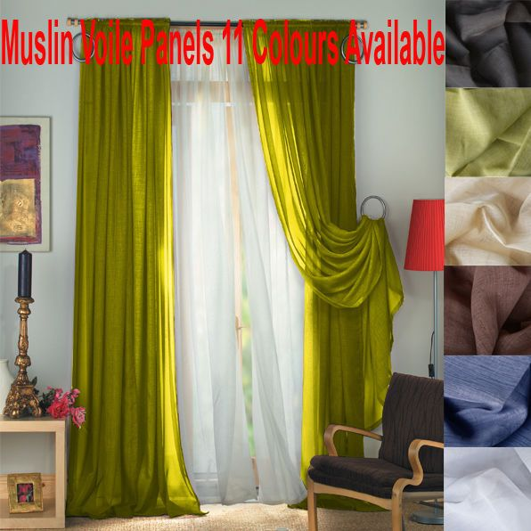 Details About Fiona Muslin Voile Slot Top Curtain Panels