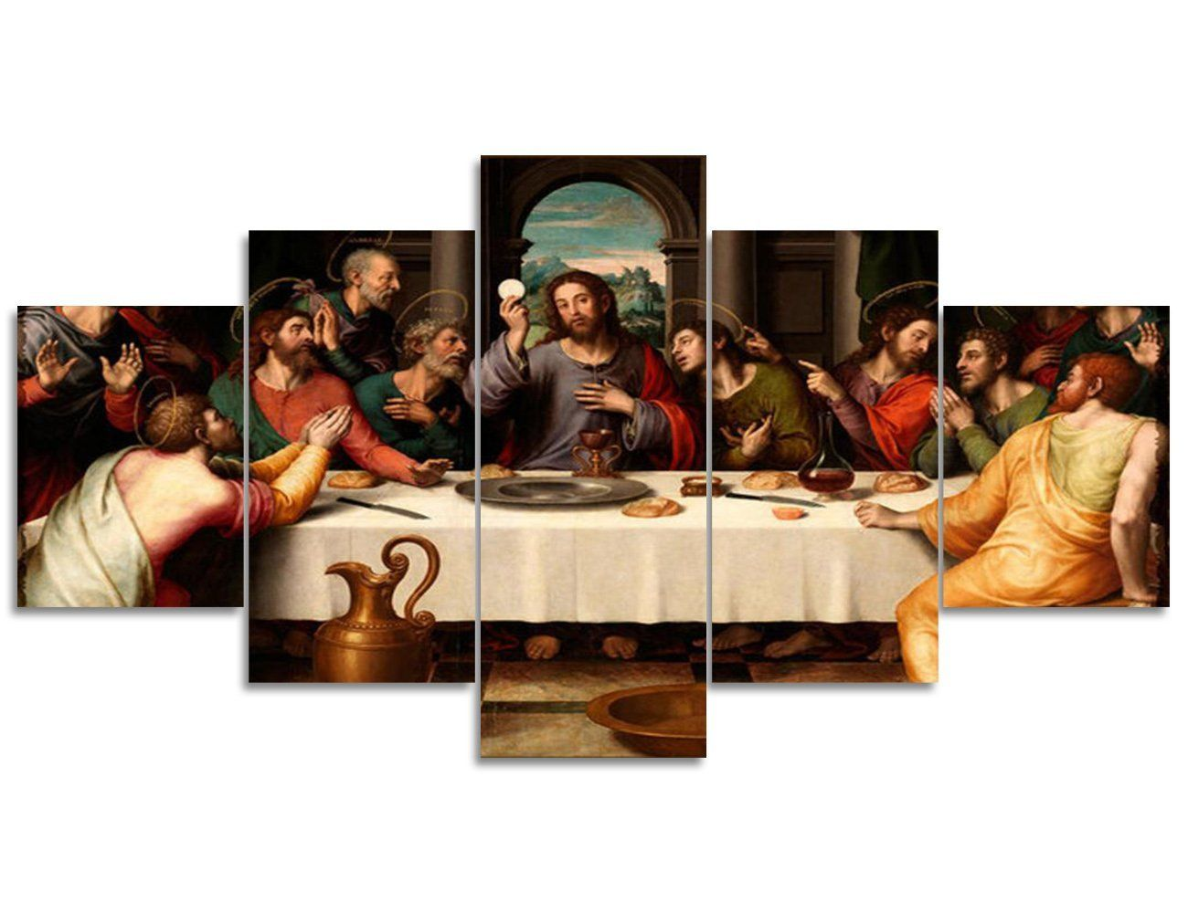 Jesus The Last Supper Wall Art Canvas Prints Art Home Decor For Living Room Modern Pictures Pictures 5 Panel Large H Canvas Art Prints Painting Frames Wall Art