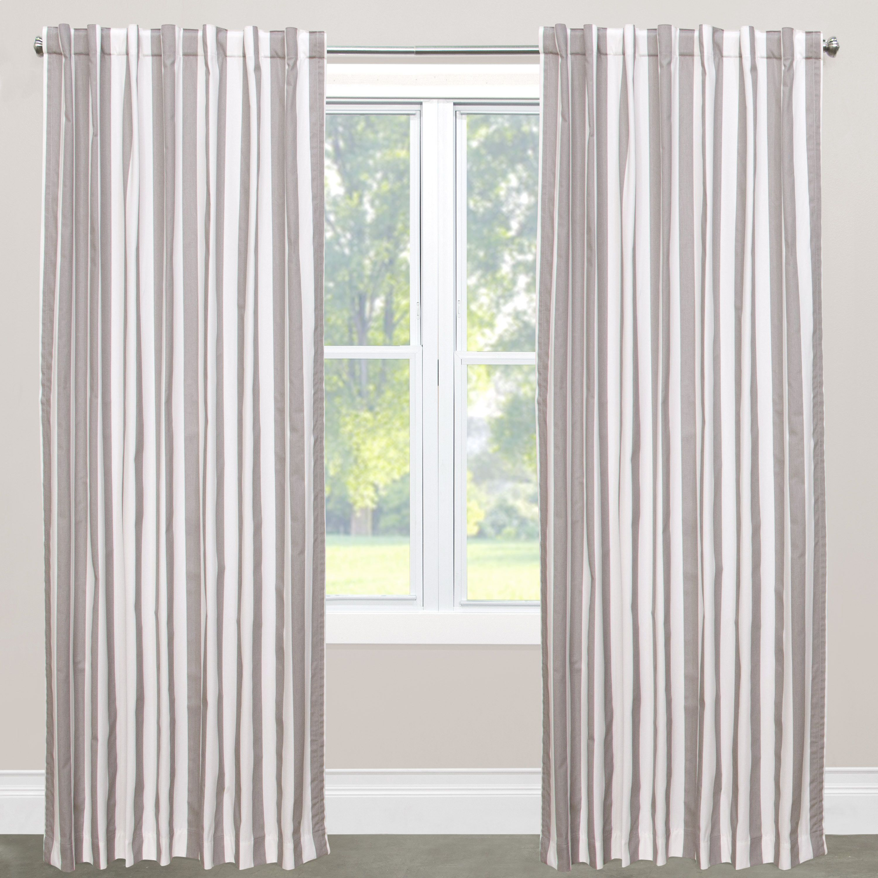 Skyline Canopy Multicolor Cotton Striped Blackout Window Curtain Panel ( Canopy Stripe Storm/twill 108) Grey Size 50 x 108  sc 1 st  Pinterest : canopy faux silk curtains - afamca.org