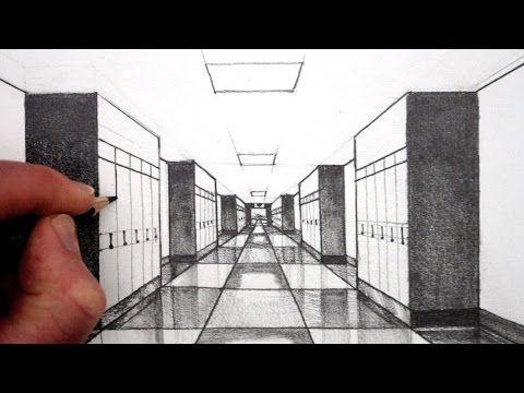 How To Draw 1 Point Perspective For Beginners A Hallway Youtube Fluchtpunktperspektive Perspektive Zeichnen 1 Punkt Perspektive