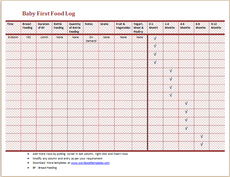 Baby First Food Log Download At HttpWwwWordexceltemplatesCom