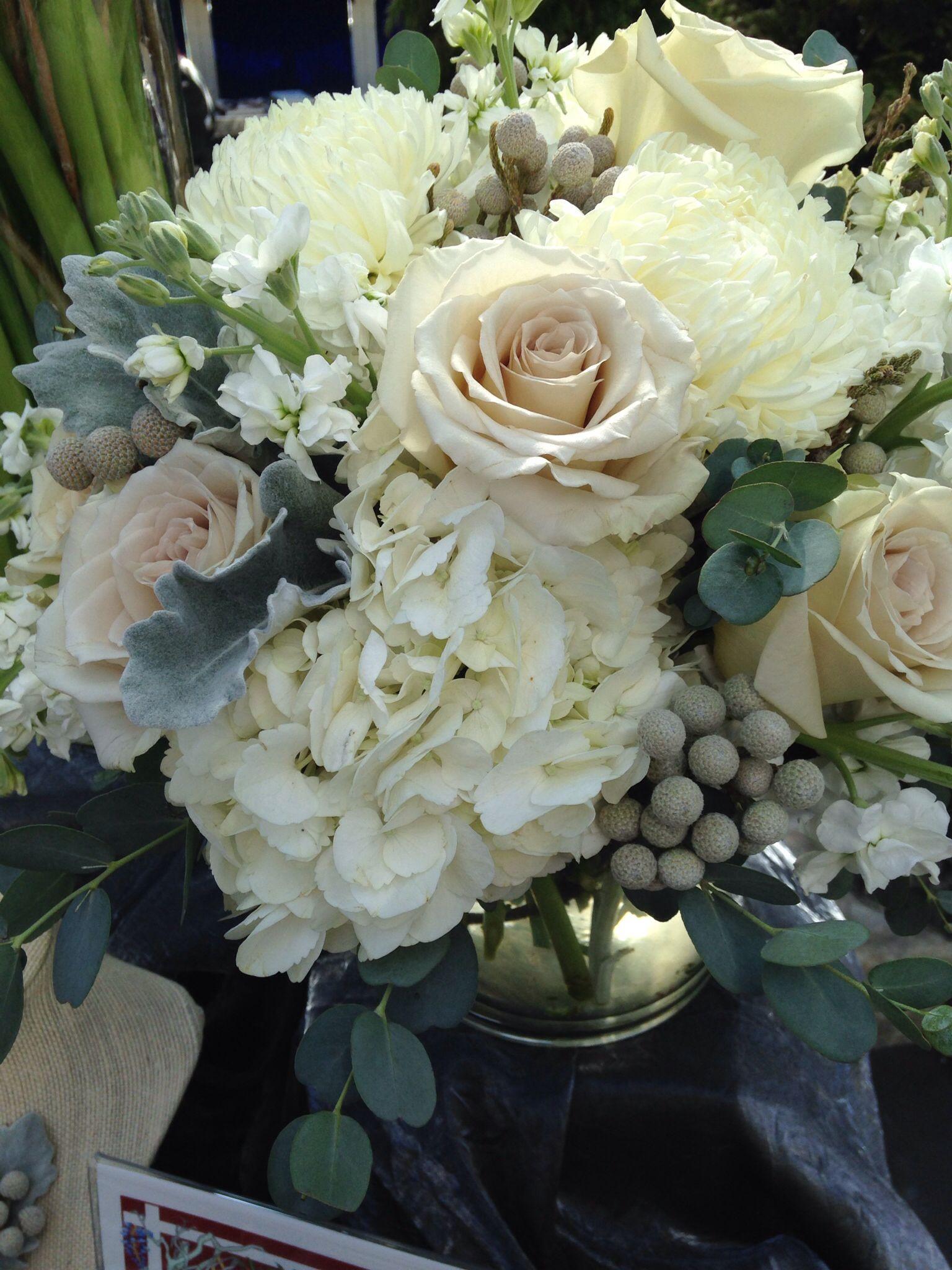 White Hydrangea Earl Grey Rosesilver Brunia White Stock