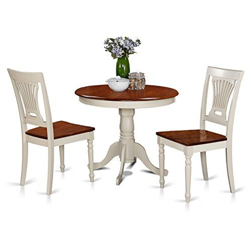 East West Furniture Anpl3Whiw 3Piece Kitchen Nook Dining Table Set Amazing 3 Piece Kitchen Table Set 2018