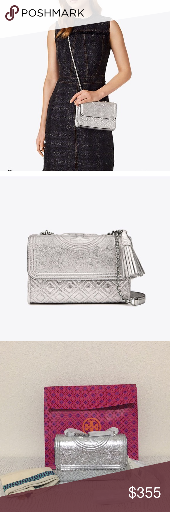 af876e59259 New Tory Burch Fleming metallic small shoulder bag 100% Authentic. Brand  new with tag comes with dust bag and paper box😍😍 New Tory Burch Fleming  metallic ...