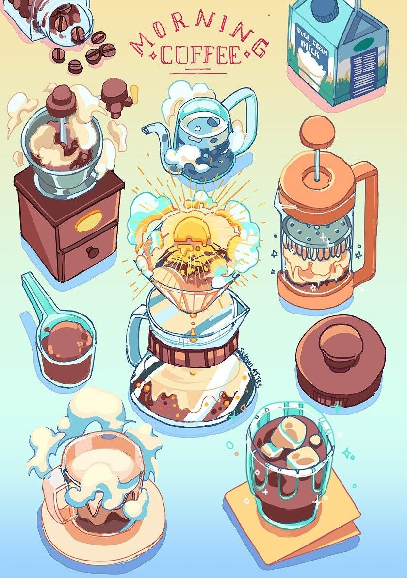 Coffee ~ illustration | Food illustration art, Kawaii art