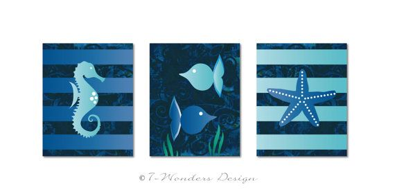 Children's Kids Fine Art Nautical Bathroom Print Set by 7-Wonders Design