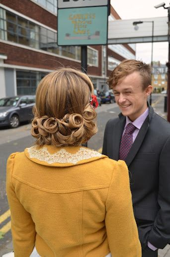 Check out that mustard jacket!!  Hair by: Lipstick & Curls