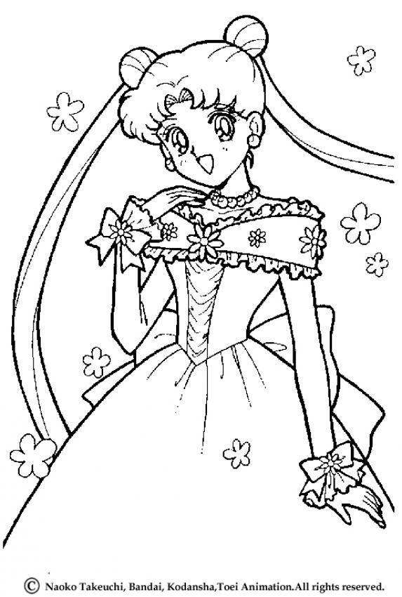 Princess Serenity Coloring Page More Sailor Moon Sheets On Hellokids