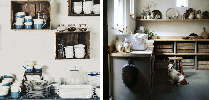 Cajas de madera para organizar la cocina antigua - Decorar cajas de madera de fruta ...
