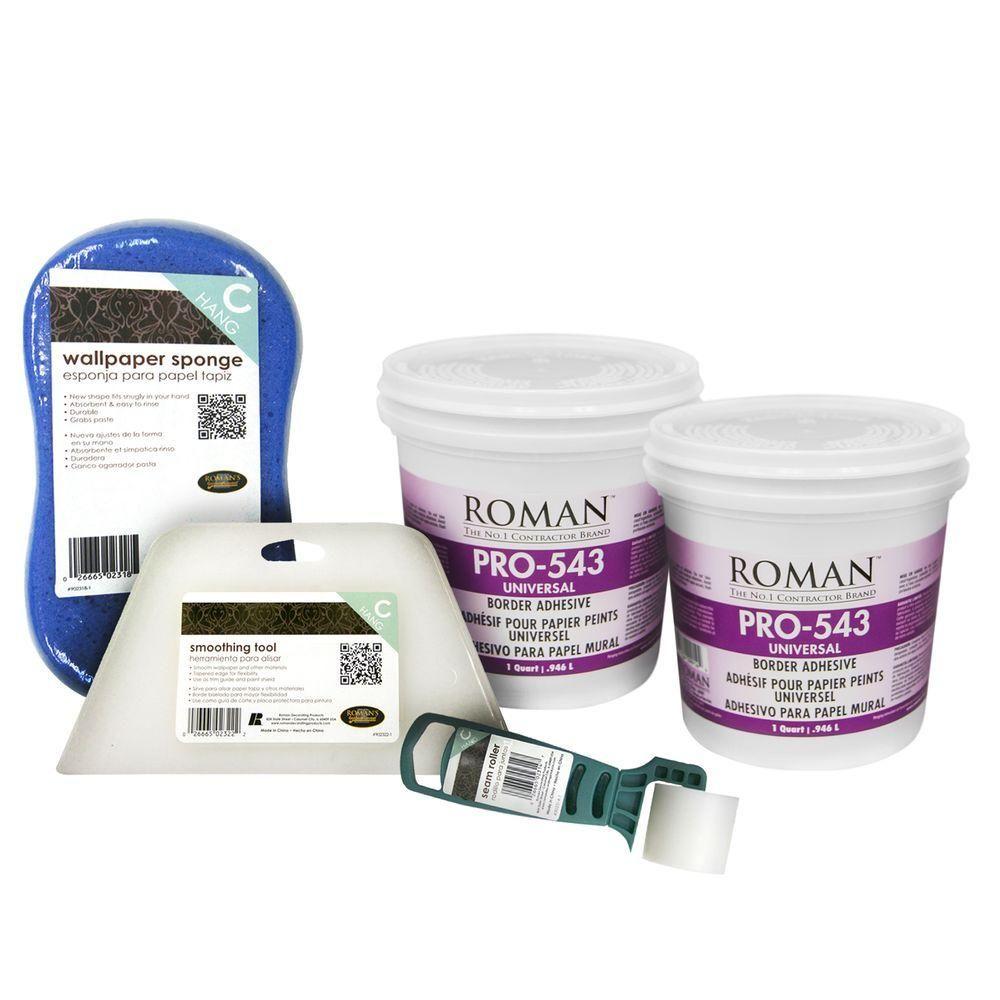 Roman 2 Qt Universal Wallpaper Adhesive Kit For Focal Walls
