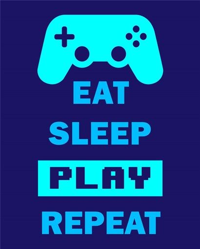 Eat Sleep Game Repeat Blue By Color Me Happy Blue Art Prints Red Art Print Purple Wall Art
