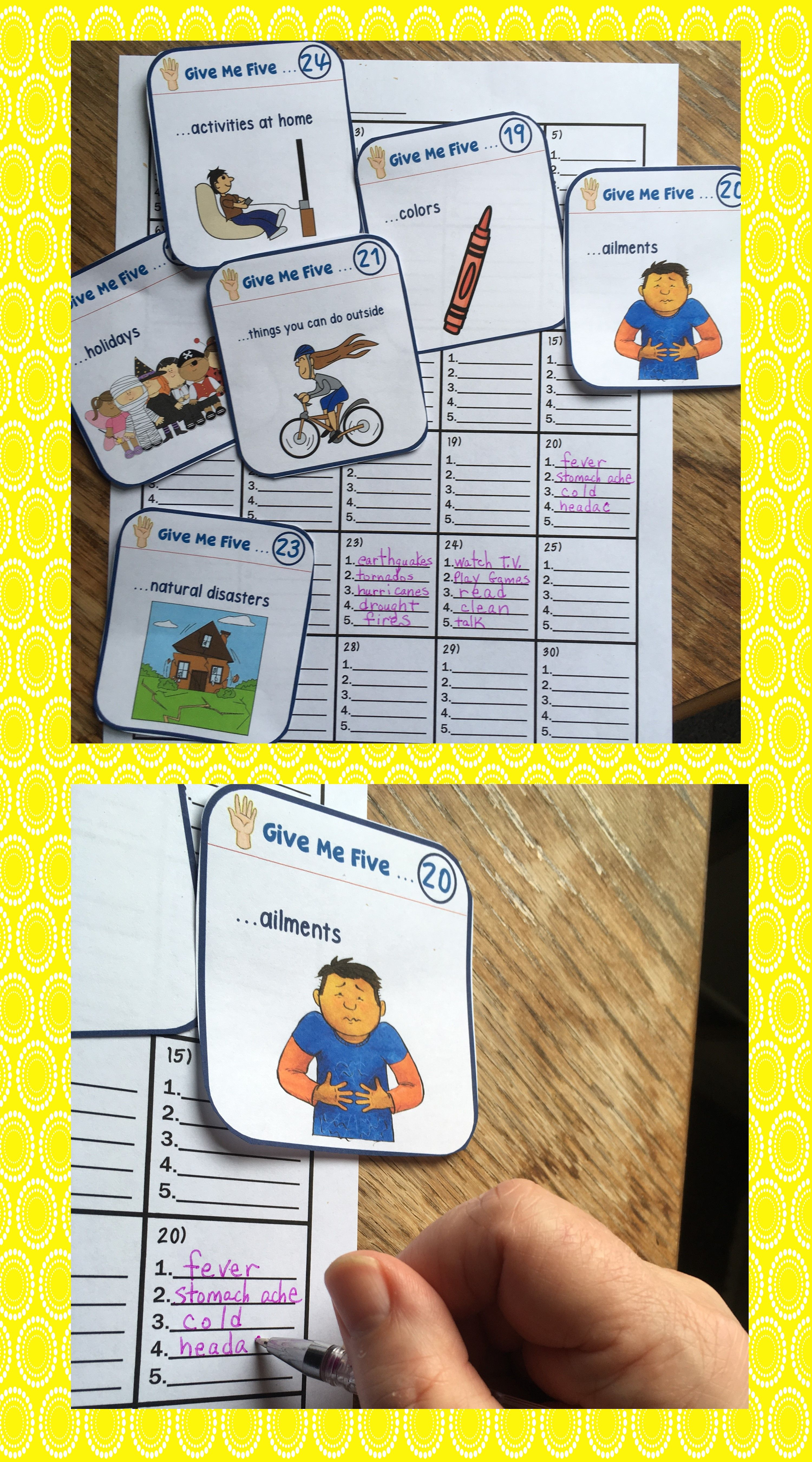 Esl Games Esl Newcomers Give Me Five Vocabulary Task Cards