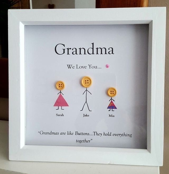 Personalised Wooden Box Frame For Grandma/Nan/Mum Button Head ...