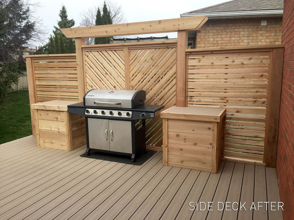 Decorative and functional cedar screen for behind the bbq built by the brolaws dave kenney and - Baraque de jardin ...