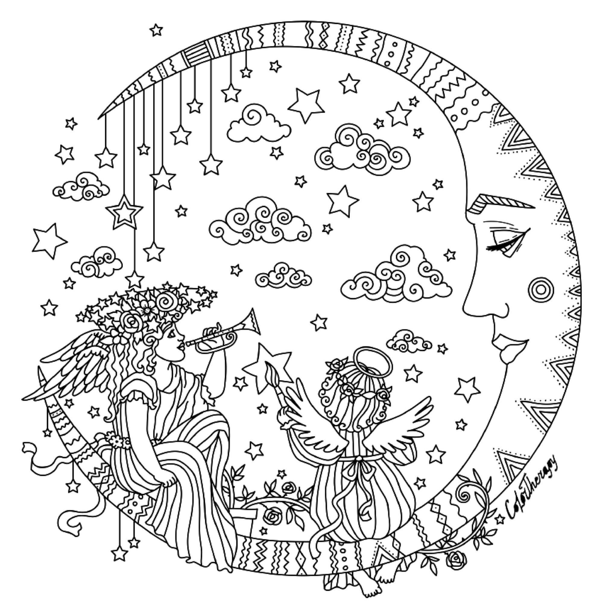 Pin by Elizabeth Valencia on Coloring Pages  Moon coloring pages