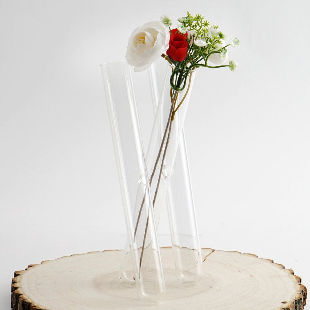 3 Clear Glass Conjoined Test Tube Flower Vase Plant Decoration