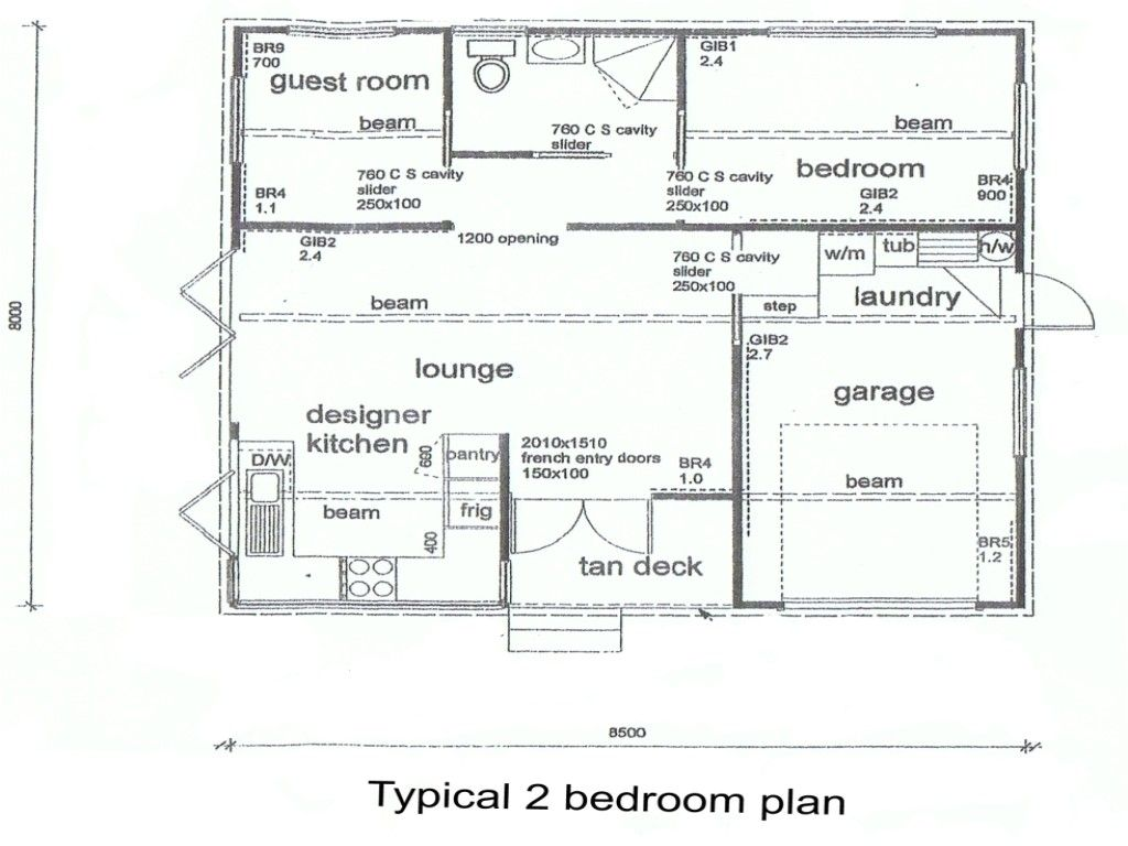 House Plans With 2 Bedrooms On First Floor Deck