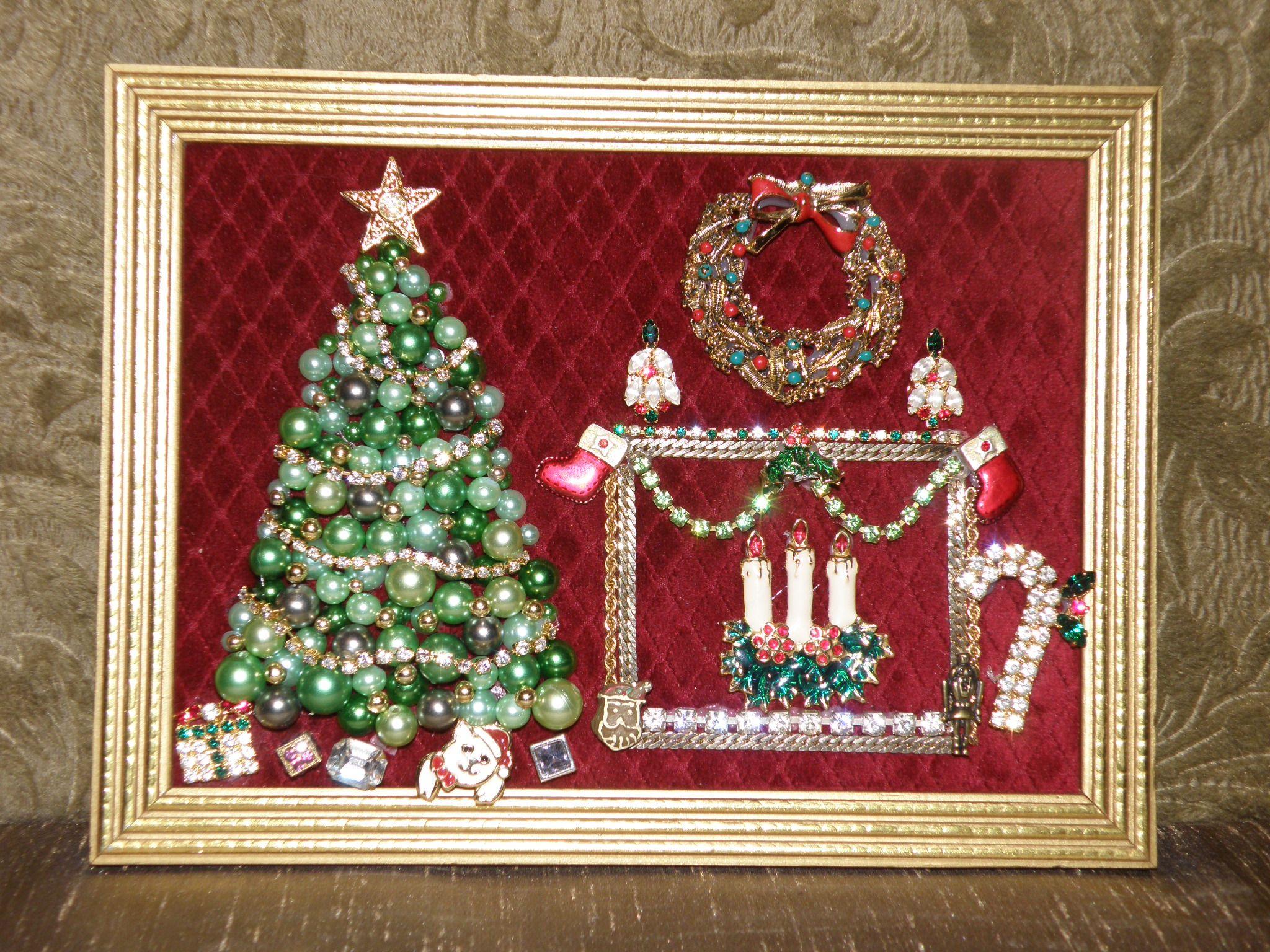 Vintage Jewelry Christmas Tree & Fireplace Scene | Jewelry Art in ...