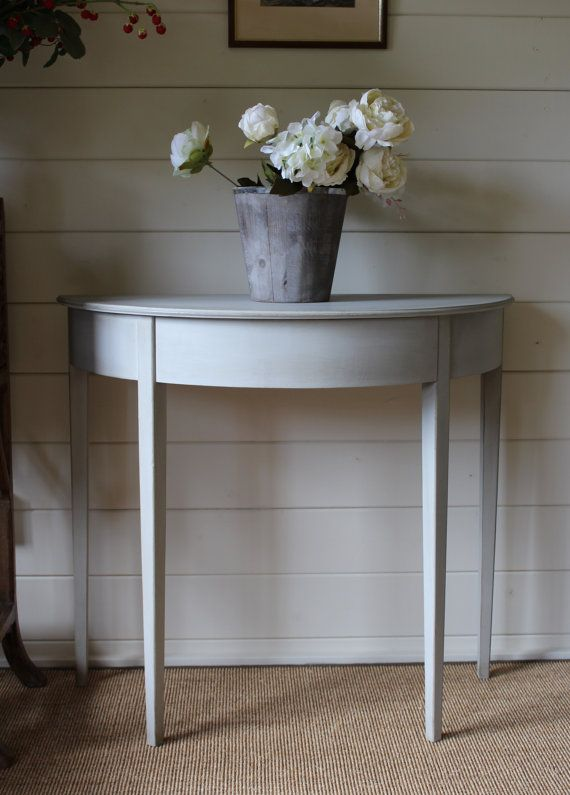 """NOW SOLD ****Gustavian Style """"Rustic Painted"""" Demi Lune"""