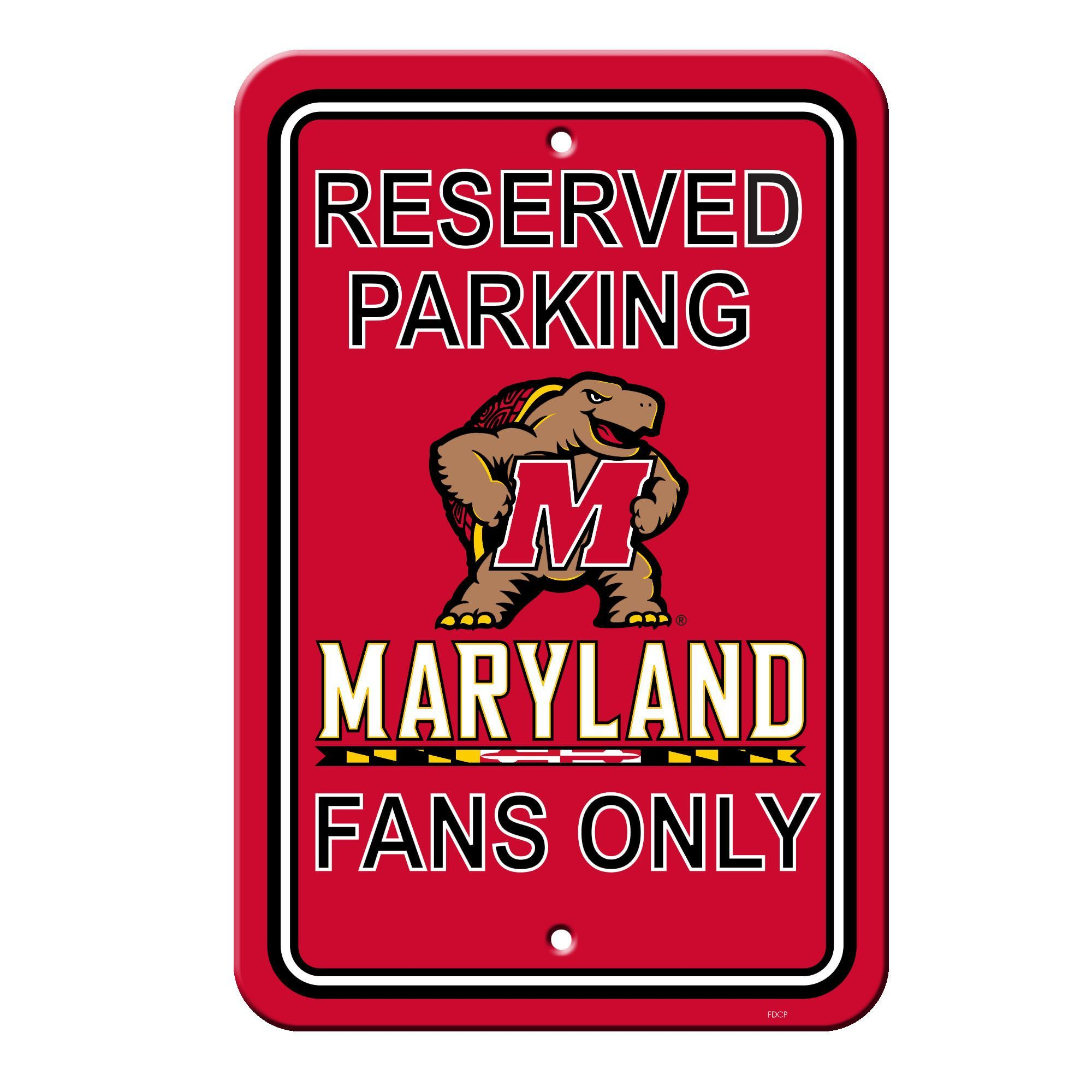 Maryland Terrapins Sign - Plastic - Reserved Parking - 12 in x 18 in (backorder)