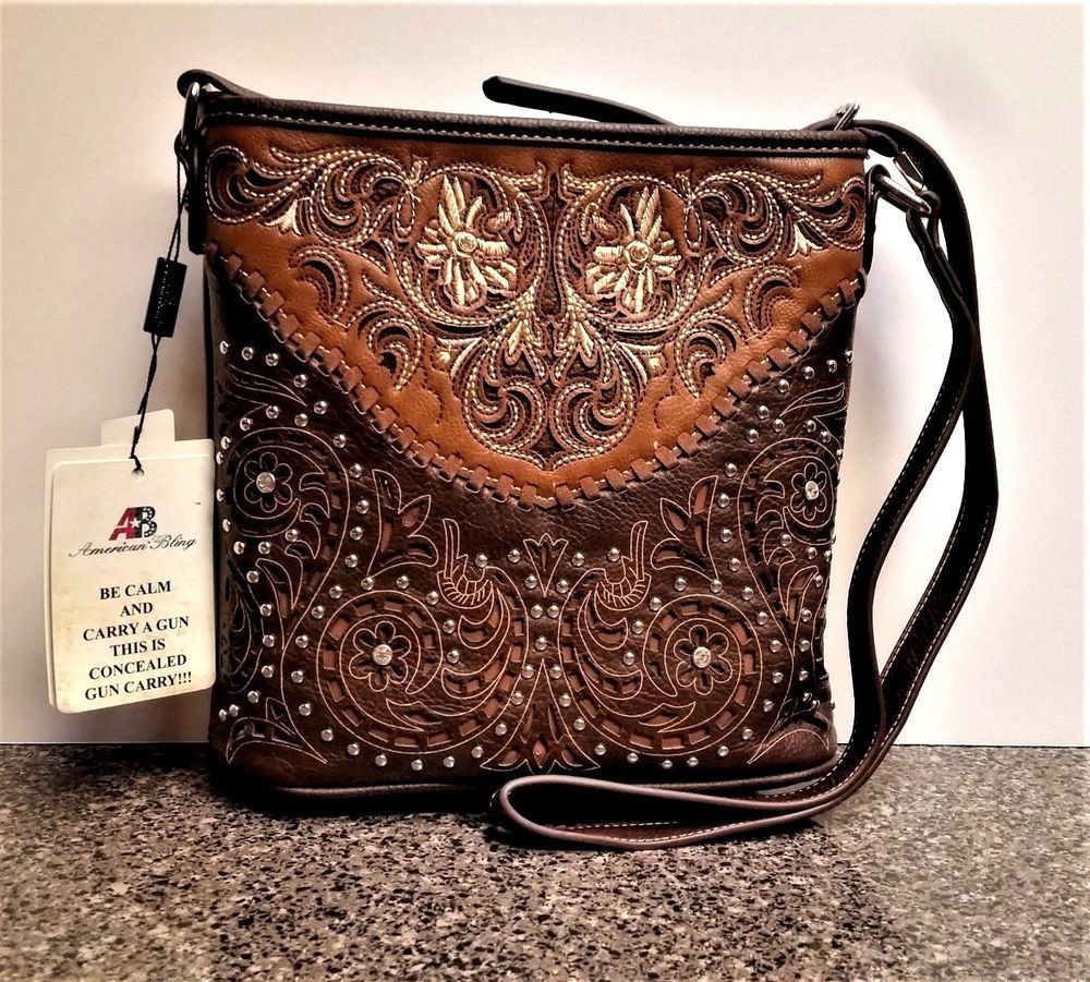 Montana West Concealed Carry Floral Tooled Leopard Print Tote